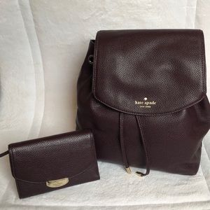 Kate Spade Plum Mulberry BackPack and Wallet Set